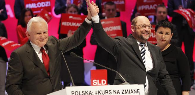 Konwencja SLD: Leszek Miller i MartinSchultz