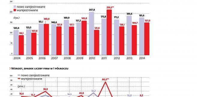 Liczba firm w pierwszym półroczu