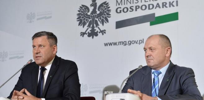 Janusz Piechociński i Marek Sawicki podczas konferencji prasowej.
