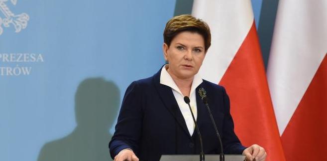 Premier Beata Szydło podczas konferencji prasowej w KPRM.
