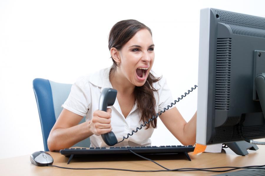 internet, komputer, złość, kobieta