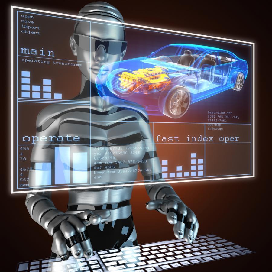 samochód, komputer, robot
