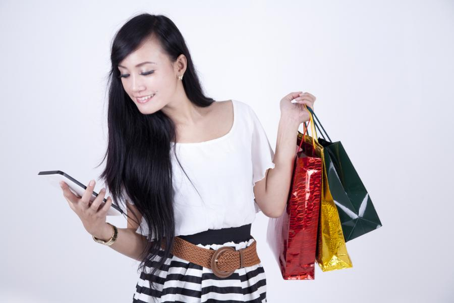 tablet, kobieta, zakupy