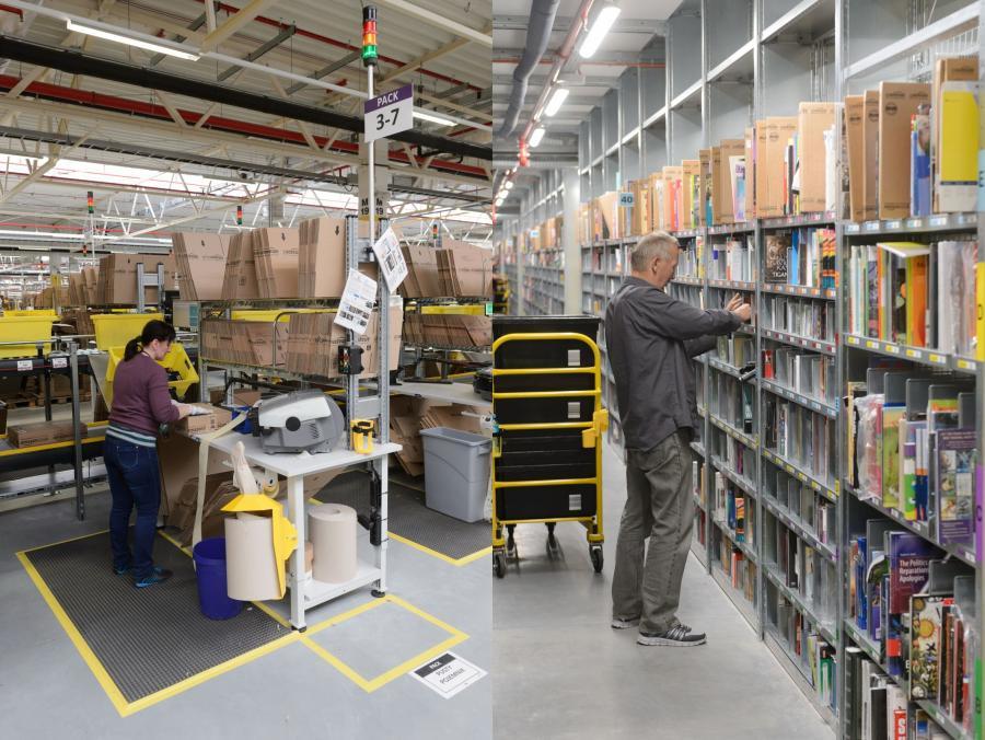 Centrum logistyczne Amazon - Sady (woj. wielkopolskie), 28.10.2014. Centrum logistyczne firmy Amazon w podpoznańskich Sadach, 24 bm. Uroczyste otwarcie centrum zaplanowano na 29.10.2014. (mgo) PAP/Jakub Kaczmarczyk