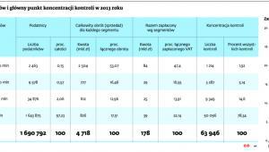 Stratyfikacja podatników i główny punkt koncentracji kontroli w 2013 roku