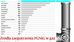 Źródła zaopatrzenia PGNiG w gaz