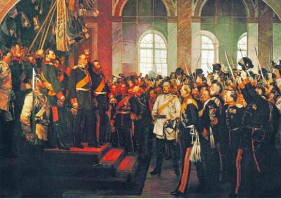 Scena przedstawiająca zaprzysiężenie Wilhelma I na cesarza Niemiec. Finansowym fundamentem państwa były francuskie reparacje wojenne