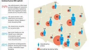 Liczba mieszkańców i poradni leczenia bólu w województwach
