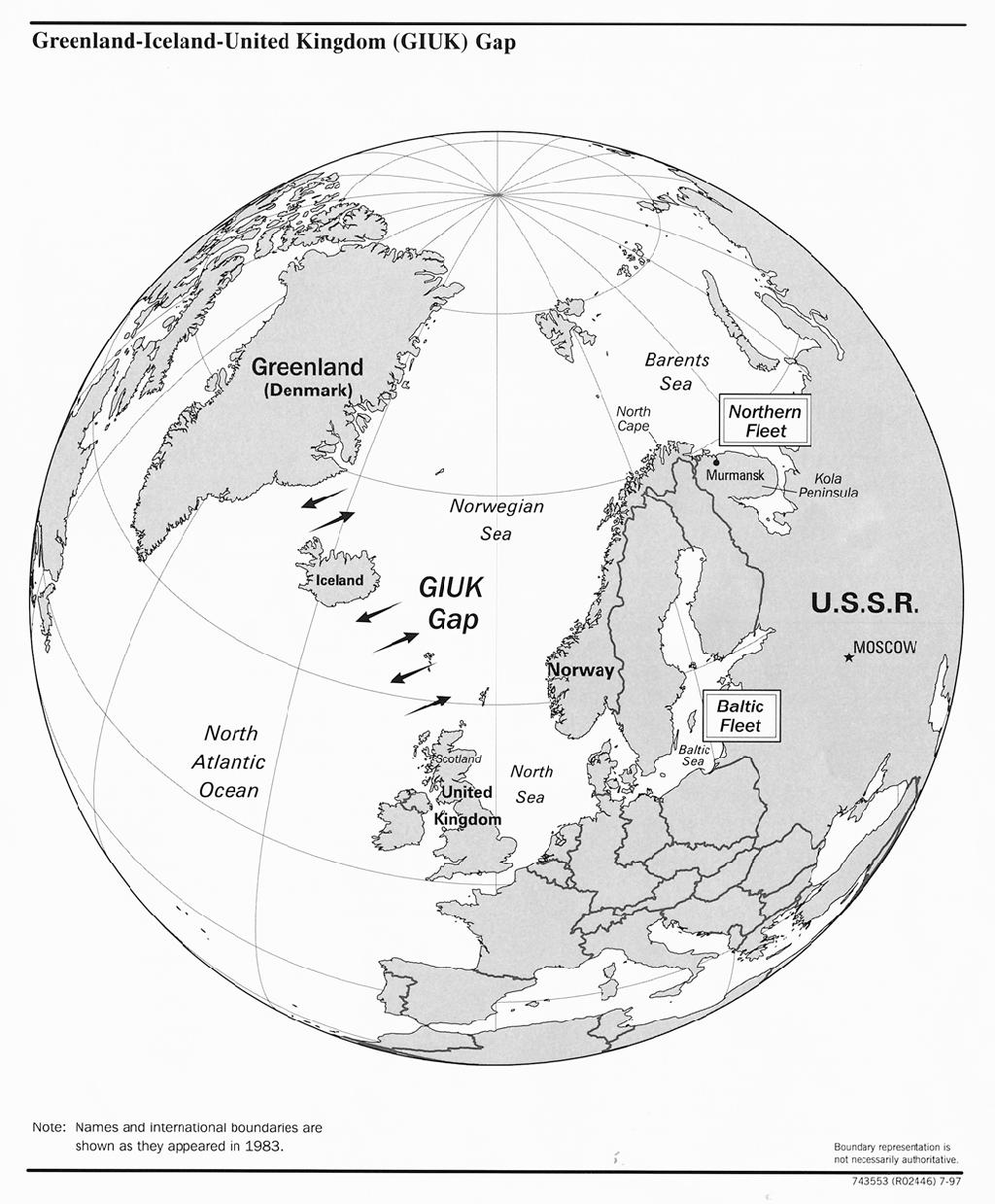 Obszar GIUK Gap (Brama GIUK). Mapa z 1983 roku. Źródło: https://www.cia.gov/csi/monograph/coldwar/pg9.gif, https://commons.wikimedia.org/w/index.php?curid=1663941