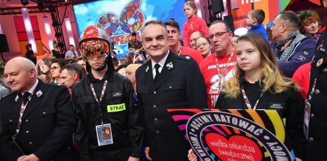 Prezes Ochotniczej Straży Pożarnej Waldemar Pawlak w sztabie podczas 26. finału WOŚP.