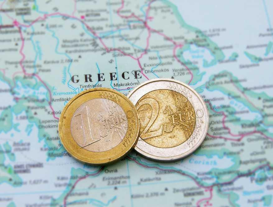 Mapa Grecji i euro