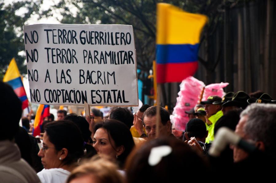 Stolica Kolumbii, Bogota, 2011 r. Protest przeciw terrorowi FARC