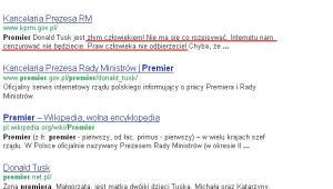 Strona Kancelarii Premiera Rady Ministrów w wynikach wyszukiwania Google